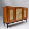 Swiss Midcentury Pear Wood and Parchment Three Door Buffet