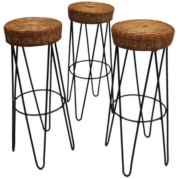 Amazing Three French Black Metal And Rattan Bar Stools 1950S Inzonedesignstudio Interior Chair Design Inzonedesignstudiocom