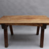 French 1950s Rectangular Solid Walnut Table and Two Matching Benches