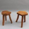 Two French 1950s Oak Tripod Stools