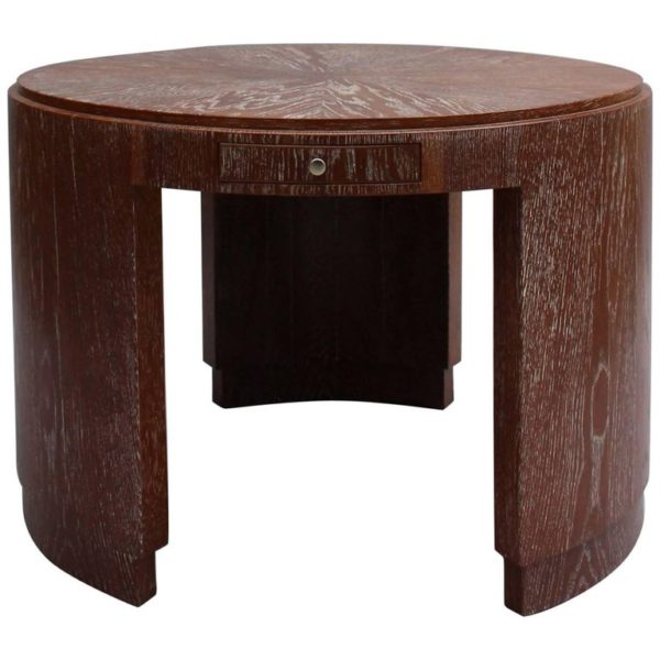 Large French Art Deco Cerused Oak Gueridon, Center Table