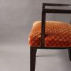 Set of Six French Art Deco Darkened Wood Bridge Chairs with Bronze Sabots