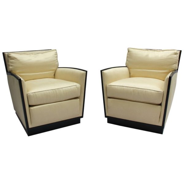 Pair of Fine French Art Deco Club Chairs by Dominique