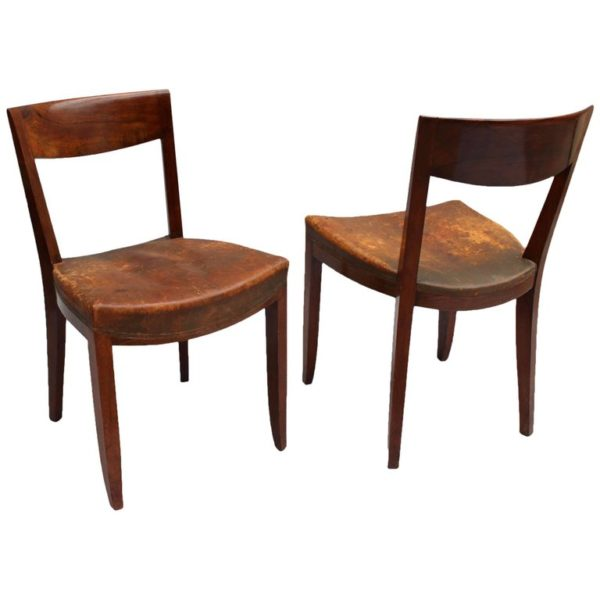 Pair of French Art Deco Side Chairs by Jules Leleu