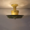French 1950s Lacquered Metal, Frosted Glass Chandelier with Brass Details