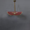 French 1950s Red Lacquered, Brass and Glass Chandelier