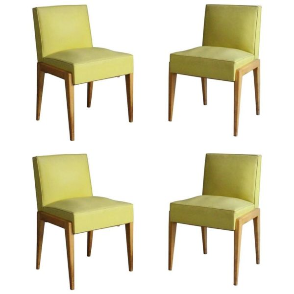 Set of 4 French 1950's Sycamore Chairs by Verot et Clement