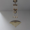Unusual Fine French Art Deco Chrome and Glass Pendant with Wood Details