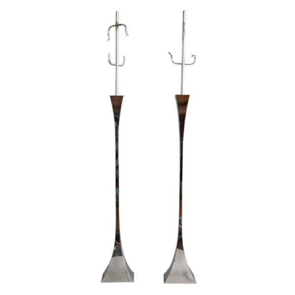 Two Chromed Floor Lamp by A. Montagna Grillo and A. Tonello