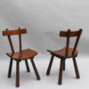 Set of Six French 1960s Solid and Laminated Wood Chairs