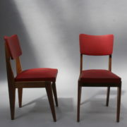 1761-4 chaises 50s skai rouge petits carres (10)
