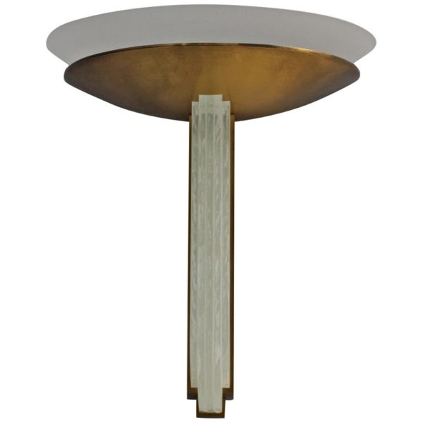 A Fine Large French Art Deco Bronze and Glass Wall Light by Perzel