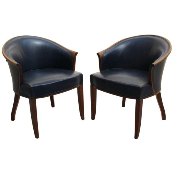 Pair of Fine French Art Deco Walnut Visitor Armchairs by Leleu