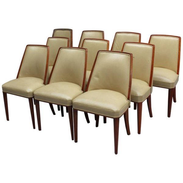 Set of Ten Mahogany Dining Chairs Attributed to Dominique