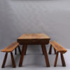 Pair of French Midcentury Walnut Benches