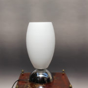 1787-Lampe a poser Perzel chrome vasque verre blanc epais 00007