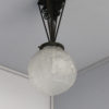 Fine French Art Deco Wrought Iron and Frosted Glass Pendant by Muller Frères