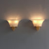 Pair of Fine French Art Deco Glass, Opaline and Bronze Sconces by Jean Perzel