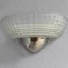 4 Fine French Art Deco Chrome and Holophane Glass Sconces