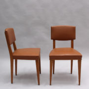 1628-6Chaises palissandre cuir marron placage 22
