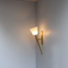 Unusually Large Fine French 1950s Bronze and Glass Torchere Sconce by Perzel