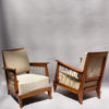 4 Fine French 1950s Oak Armchairs with Rope Details