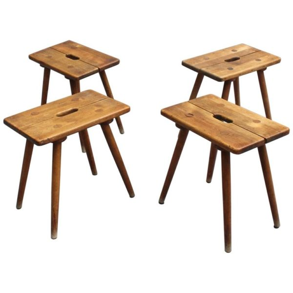 4 French 1950s Beech Stools or Occasional Tables