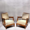 Pair of Fine French 1950s Oak Armchairs with Rope Details