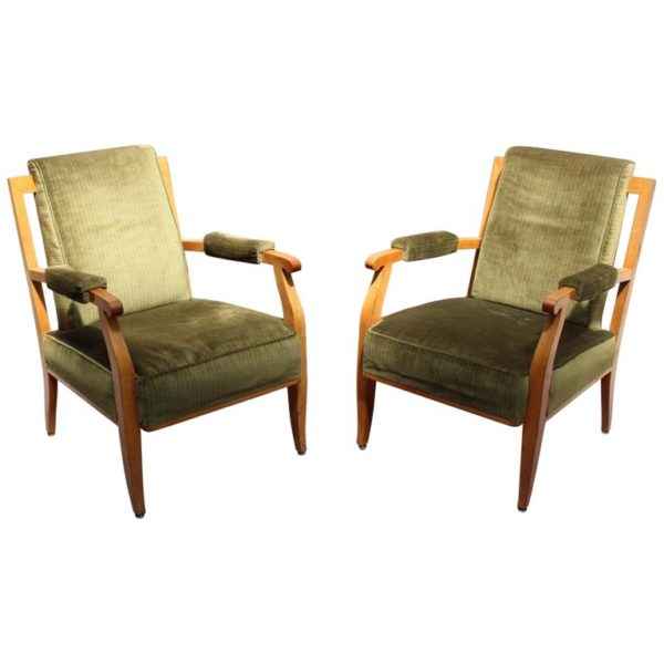 Pair of Fine French Art Deco Cherry Armchairs by Jules Leleu