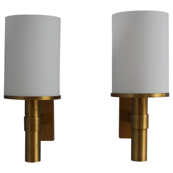 2 Pairs of Fine French Art Deco Glass and Bronze Cylindrical Sconces by Perzel