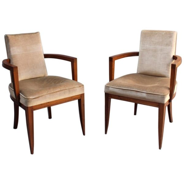 Pair of Fine French Art Deco Rosewood Armchairs by Maxime Old