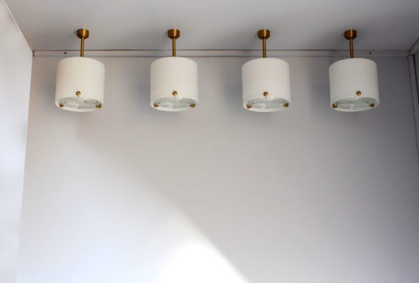 Set of 4 Fine French 1950's Cylindrical Glass and Bronze Pendants by Perzel