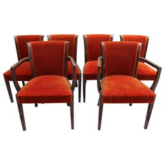 Set of 6 Fine French Art Deco Rosewood Chairs  (4 Side and 2 Arm)
