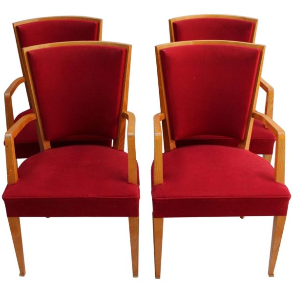 4 French Art Deco Beech Armchairs