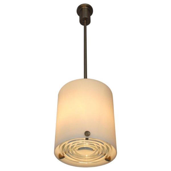 Fine French Art Deco Glass and Nickel Pendant by Perzel