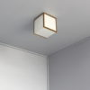 Fine French Art Deco Glass and Bronze Cubic Ceiling Light by Perzel