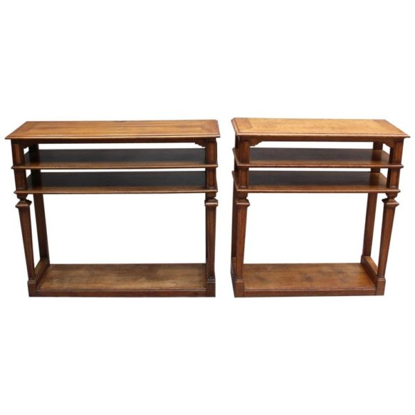 2 French Neoclassical 4 tiered console/sofa tables