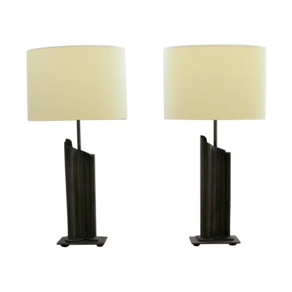 Pair of French 1970's Metal Table Lamps