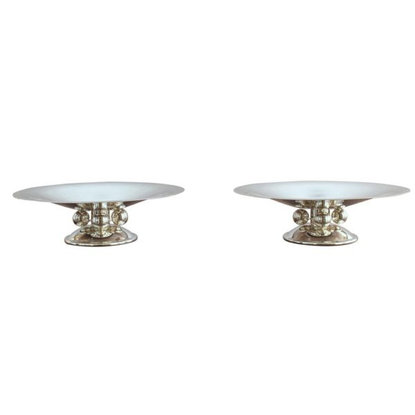 2 Fine French Art Deco Centerpieces by Luc Lanel for Christofle