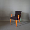 A Pair of Fine French Art Deco Stained Beech Upholstered Armchair.