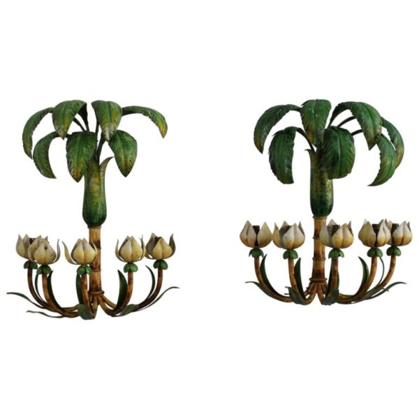 Pair of French 1950s Tole Palm Tree Sconces