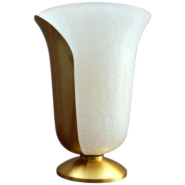 Fine French 1950s Satin Brass and White