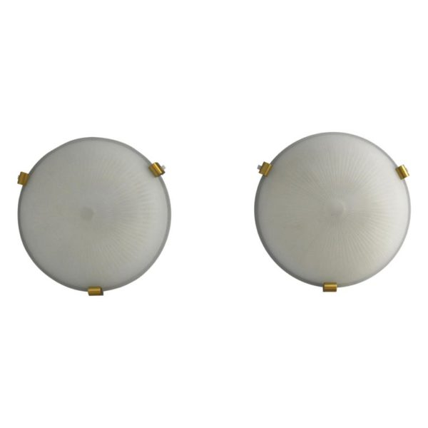 Pair of Fine French Art Deco Flush Mounts or Wall Sconces by Jean Perzel