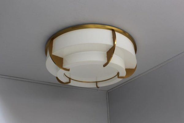 A Large Fine French Art Deco Two-Tier Round Flush Mount by Jean Perzel