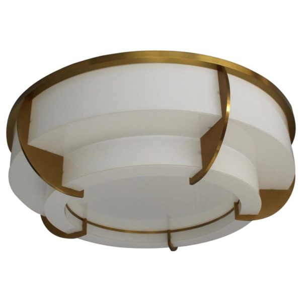 A Large Fine French Art Deco Two-Tiered Round Flush Mount by Jean Perzel