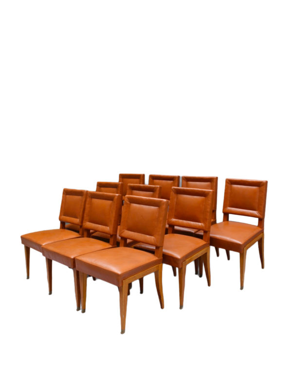 Rare Set of 10 Leather and Mahogany Chairs by Jacques Quinet