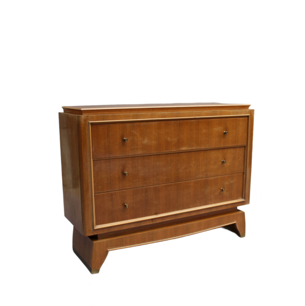 Fine French Art Deco 3 Drawers Palisander Commode with Brass Details