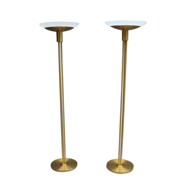 2 Fine French Mid-Century Bronze and Glass Floor Lamps by Perzel