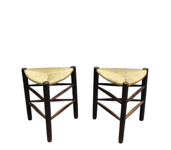 A Pair of French Mid-Century triangular stools with rush seats
