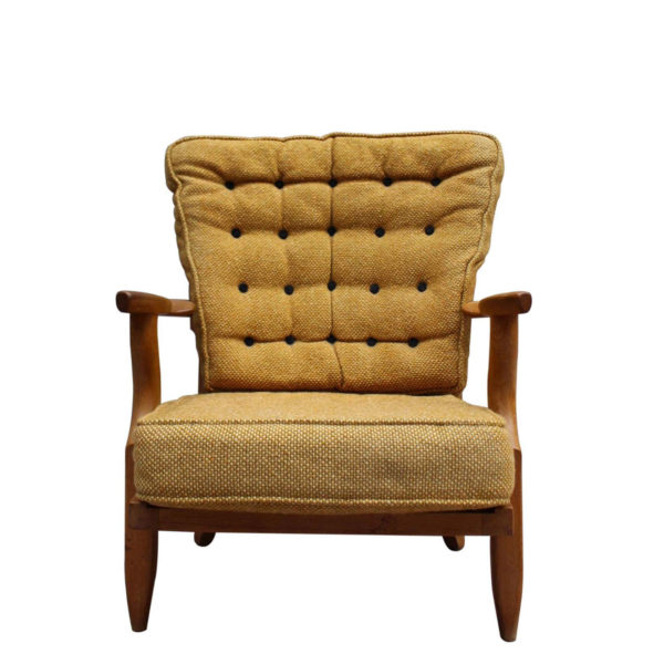 """French 1950s """"Grand Repos"""" Armchair by Guillerme et Chambron"""